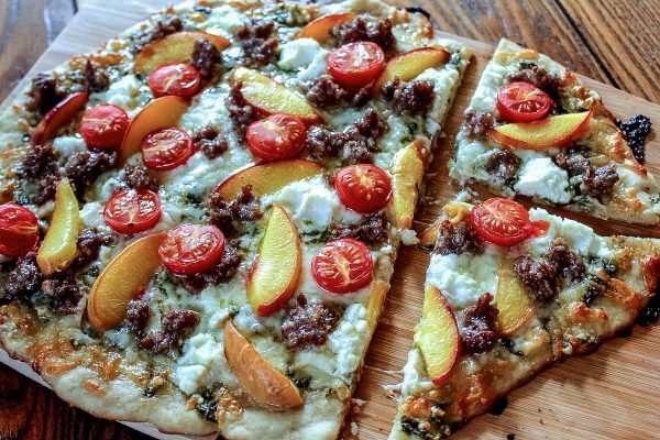 Recipes-To-Make-The-Most-Out-Of-Peach-Season_Peach-Sausage-and-Tomato-Flatbread-Pizza_Christina-Carter