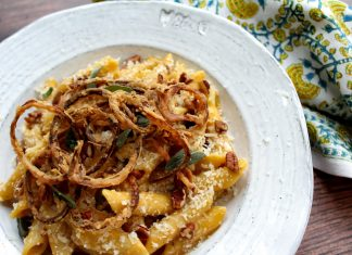 butternut-squash-and-goat-cheese-pasta-with-onion-straws-and-chopped-pecans
